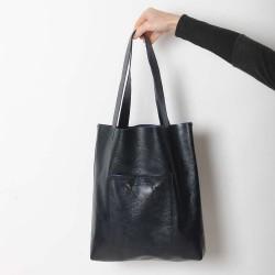 original made in france Sac shopping cabas en cuir bleu foncé vernis, deux poches