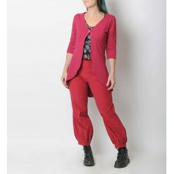 Womens dark pink babycord pants with jersey belt