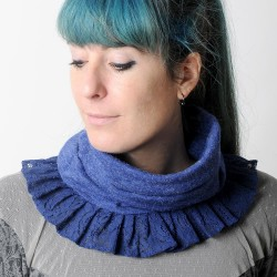 Soft and supple blue pleated snood with lace ruffles