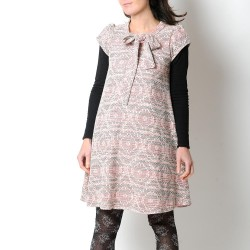 White, black, pink trapeze dress, short sleeves and tie collar
