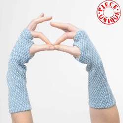 Blue and white fingerless gloves, vintage embroidered jersey