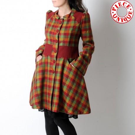 cadeau pour femme Manteau vintage rouge carreaux verts, Manteau original pour femme
