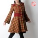 Very flared checkered womens coat, in red, yellow, green wool