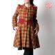 Manteau fabriqué en France créateur femme vintage rouge carreaux verts, Manteau original pour femme