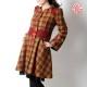 Manteau fabrication artisanale vintage rouge carreaux verts, Manteau original pour femme