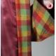 Manteau vintage original fabriqué en France rouge carreaux verts, Manteau original pour femme