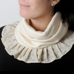 Off-white soft and stretchy pleated snood, vintage beige embroidered ruffles