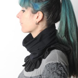 Black stretchy pleated snood with perforated faux suede ruffles