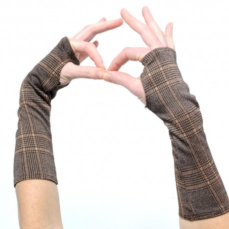 Glittery bronze Prince of wales fingerless gloves