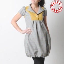 Grey and yellow short-sleeved wool bubble dress