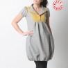 Robe boule grise et jaune, lainage vintage à carreaux, manches courtes
