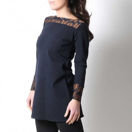 Short jersey tunic, bronze and navy blue stripes, long sleeves