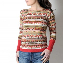 Green and red women's sweater, vintage jersey and sparkly red