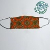 Washable fabric face mask - Vintage orange floral cotton