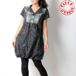 Black and white, denim and wool short-sleeved bubble dress