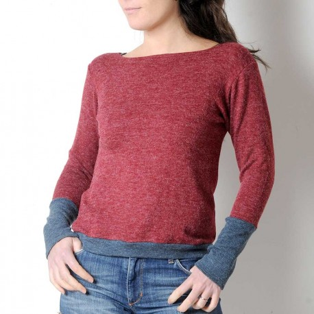 Dark red and blue-grey women's sweater, soft knit jersey