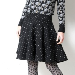 Flared thick black stretchy jersey skirt with white stars