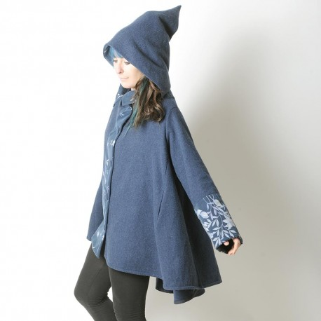 Blue wool high-low hooded Cape with wide sleeves and floral details