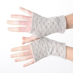 Short beige fingerless gloves, loose knitted wool