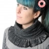 Soft and supple dark grey pleated snood with silvery plaid ruffles
