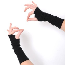 Black fingerless mittens, Long black warmers