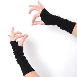 Mitaines noires longues femme ou homme - jersey noir