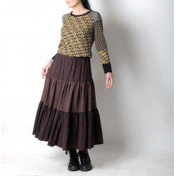 Long bohemian tiered skirt in brown and purplish, lurex stripes