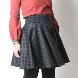 Flared dark plaid jersey skirt
