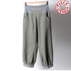 Pantalon femme original fabriqué en France 4/5, vert et gris clair, ceinture extensible