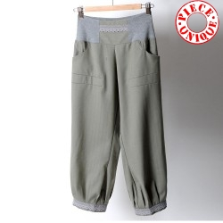 Womens green and grey pants with stretchy belt