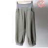 Pantalon femme 4/5, vert et gris clair, ceinture extensible