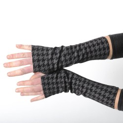 Black and grey houndstooth fingerless gloves