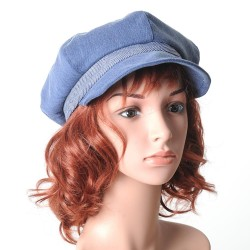 Blue denim newsboy cap hat