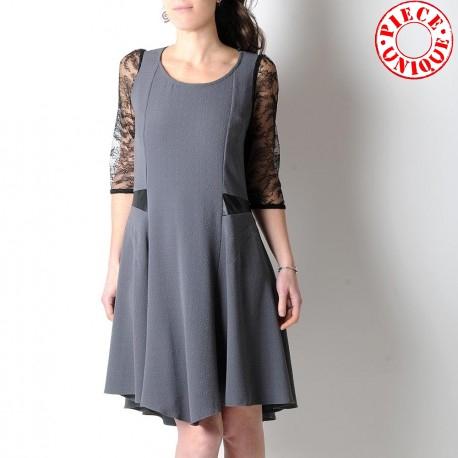Grey and black short-sleeved dress