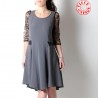 Grey and black lace-sleeved dress