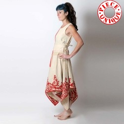 Asymetric beige and red dress, vintage linen and hand embroideries