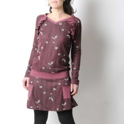 Crimson red floral tunic, ruffled details