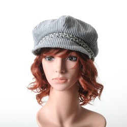 Women's newsboy cap hat, grey corduroy