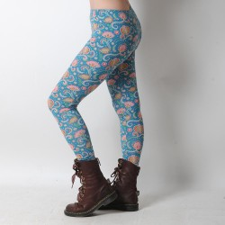 Blue and pink floral cotton jersey leggings
