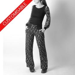 jeune créateur Pantalon femme souple droit, ceinture extensible - PERSONNALISABLE