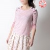 Pink and white womens top, patterned jersey and mesh