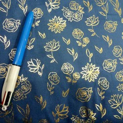 Blue-grey babycord with golden printed roses