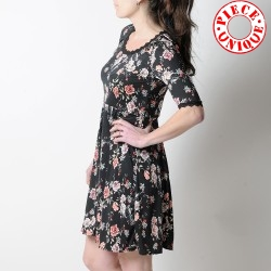 Black floral jersey dress with mid-length sleeves