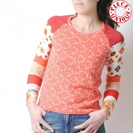 Orange, white and red womens top, patterned jersey