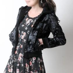 Blouson fabriqué en France femme zippé à capuche, fleuri noir et gris