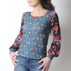 Top imprimé fabriqué en France créateur femme oiseaux et fleurs, manches longues bouffantes