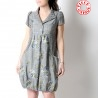Grey short-sleeved, embroidered prince of Wales bubble dress