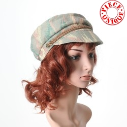 Green and beige fiddler cap hat