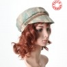Green and beige fiddler cap hat
