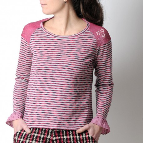 Striped pink and grey womens top, sparkly shoulders